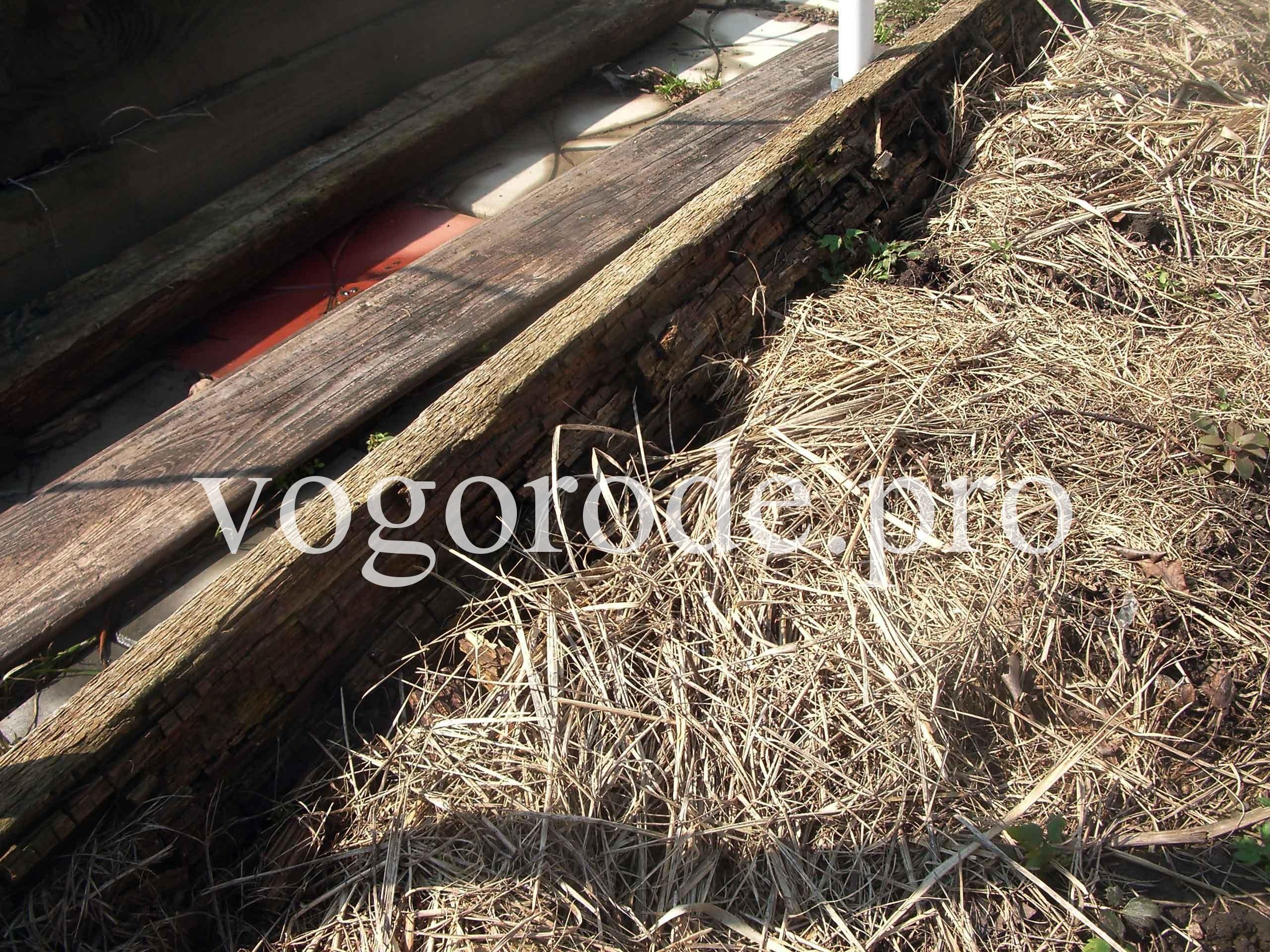 Грядка-короб из доски пятидесятки, после 8 лет эксплуатации.